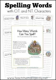 Spelling Bible words can be confusing for kids. Here is a FREE Spelling Bible words for Kids pack from Teach Them Diligently.  Click here for mo