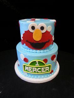 Cookie Jar Bakeshop I Custom Cakes I Birthday Cake I Sesame Street Themed Birthday Cake I Blue, Red & White Birthday Cake I Juvenile Birthday Cake I 1st Birthday Cake