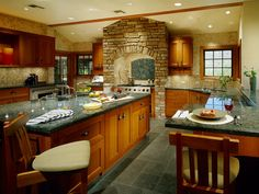 Traditional Kitchens from Elizabeth Rosensteel on HGTV, I really like the rock around the stove!!
