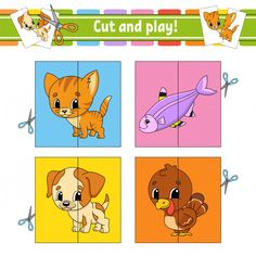 Cut and play. Flashcards For Kids, Worksheets For Kids, Preschool Crafts, Preschool Shapes, Nursery Worksheets, Toddler Learning Activities, Busy Bags, Jouer, Kids And Parenting