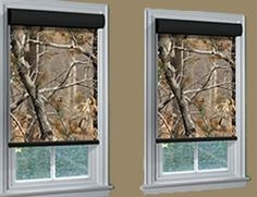 Camo roller shades from Blinds Chalet. Shop our collection of camouflage roller shades and hunting blinds. House Blinds, Blinds For Windows, Window Blinds, Shades Window, Shades Blinds, Camo Home Decor, Camo Bathroom, Hunting Bedroom, Boys Hunting Room