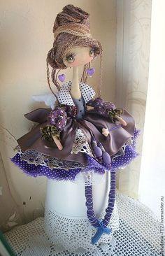 Купить Фея-Крёстная...интерьерная кукла - сиреневый, интерьерная кукла, коричневый, ангел-хранитель, сказка