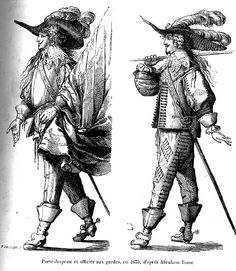 Example of triple-plumed bearer | Standard bearer and officer of the Guards, c. 1635, after Abraham Bosse (Quicherat)