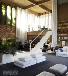 Elle Decor - Barcelona. The living room of architect Ricardo Bofill, formerly a cement factory. vanessacorrea.com