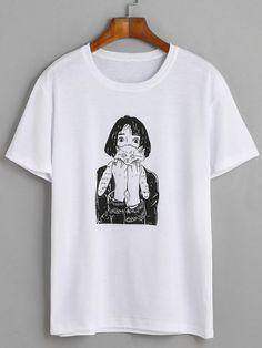White Girl Holding Cat Print T-shirt Mobile Site