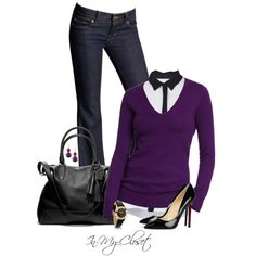Pretty In Purple by in-my-closet on Polyvore featuring A.L.C., J Brand, Christian Louboutin, Coach, Pandora, Rebecca and Old Navy