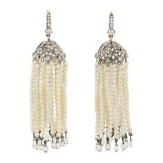 Pair of Blackened White Gold, Seed Pearl and Diamond Briolette Tassel Earrings for Sale at Auction on Mon, - - Fine Jewelry - Beverly Hills Tassel Earrings, Pearl Earrings, Drop Earrings, Jewelry Auctions, Beverly Hills, Round Diamonds, Tassels, Fine Jewelry, White Gold