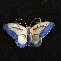 VINTAGE HROAR PRYDZ NORWAY STERLING SILVER BLUE YELLOW ENAMEL BUTTERFLY PIN