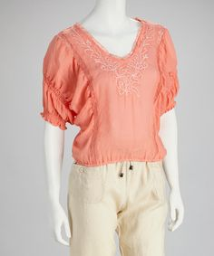 Take a look at this Coral Embroidered Peasant Top by Giorgiana by Naji on #zulily today!