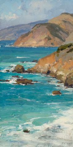 """Painting by Clyde Aspevig - """"Big Sur"""" Watercolor Landscape, Landscape Art, Landscape Paintings, Watercolor Artists, Watercolor Painting, Clyde Aspevig, Seascape Paintings, Oil Paintings, Indian Paintings"""