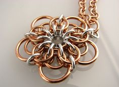 Demeter Chainmaille Flower Pendant by dancingleafstudios on Etsy, $40.00