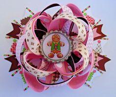 CHRISTMAS GINGERBREAD MAN COOKIE BOUTIQUE HAIR BOW RIBBON BOTTLE CAP HANDMADE #Handmade