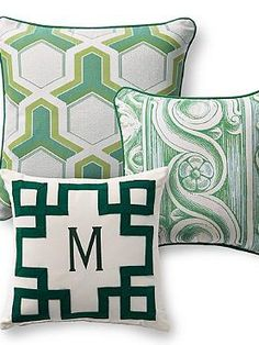 Bring fun new style and design to your outdoor seating with the Set of Three Geo Jade Designer Pillows; the perfect way to refresh your space.  | Frontgate: Live Beautifully Outdoors