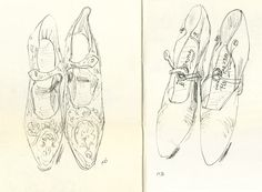 My drawing of shoes from The Bowes Museum, Helen Stephens  http://ohiforgottosay.blogspot.co.uk/search/label/Sketchbooks