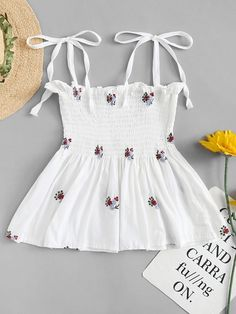 To find out about the Floral Embroidery Frill Trim Cami Top at SHEIN, part of our latest Tank Tops & Camis ready to shop online today! Best Casual Outfits, Cute Comfy Outfits, Crop Top Outfits, Cute Girl Outfits, Cute Summer Outfits, Girly Outfits, Mode Outfits, Pretty Outfits, Girls Fashion Clothes
