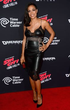 """Rosario Dawson in Ermanno Scervino  Resort 2015 leather dress at the premier of the new movie """"Sin City: A Dame to Kill For"""" #scervinocelebs #ErmannoScervino"""