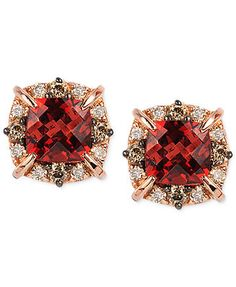 Le Vian Petite Collection Garnet (1-3/8 ct. t.w.) and Diamond (1/4 ct. t.w.) Stud Earrings in 14k Rose Gold