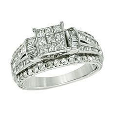 1.88Ct Square Princess Composite D/VVS1 Engagement Ring In 10K White Gold by JewelryHub on Opensky