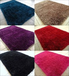 Shag Contemporary Area Rug Orange Blue Gray Black Brown Gold Green Pink Red New #Contemporary