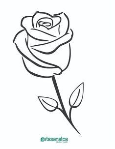 Easy Flower Drawings, Beautiful Flower Drawings, Flower Sketches, Easy Drawings, Art Sketches, Easy Rose Drawing, Rose Outline, Rose Stencil, Minimalist Drawing