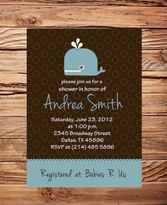Whale Baby Shower Invitation Baby Shower by StellarDesignsPro, $18.00