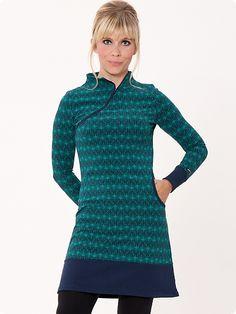 Mademoiselle Yeye Ira Kleid, green leaves dress blue green print jurk blauw groen bladeren print www.yeyeye.de