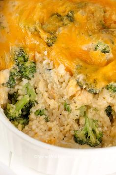 This Broccoli Rice Casserole is made from scratch (and contains no condensed soup). Fresh crisp broccoli and fluffy rice come together in a creamy cheesy homemade sauce to create a family favorite side dish!