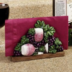 The Wine Is Served Grapes Napkin Holder is perfect for the kitchen decor of any wine lover. Wine Theme Kitchen, Grape Kitchen Decor, Purple Kitchen, Kitchen Themes, Farmhouse Kitchen Decor, Kitchen Utensils, Kitchen Ideas, Eat At Kitchen Island, Kitchen Islands For Sale