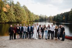 The whole crew celebrates the couple on the lake beach at Alderbrook Lodge in Upstate NY. Adirondack Park, Lake Beach, Upstate New York, Lake George, Outdoor Weddings, New York Wedding, Family Portraits, Backdrops, The Incredibles