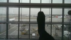 My foot badly dressed ready to fly at heathrow