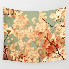 Pink flowers, wall tapestry, gift for her, dogwood flowers, home decor, shabby chic, baby nursery decor, flower photography