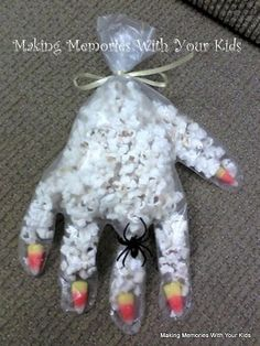 Mummy hands Halloween snacks