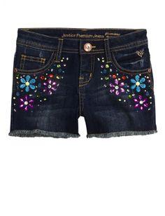 Floral Embellished Denim Shorts | Girls Shorts Clothes | Shop Justice