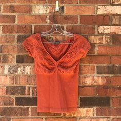 202fdd3f6b1 Bebe Orange V-Neck Short Sleeved Shirt Great Condition
