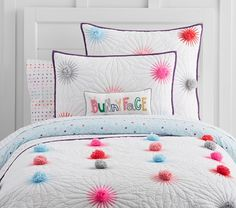 Margherita Missoni for Pottery Barn Kids Pom Pom Daisy Quilted Bedding // pompom bedspread