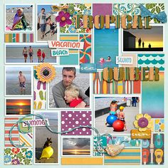 Like this layout - fun to use lots of patterns & pieces & get many many pics on one page.  [ Island Getaway | Amanda Heimann ]