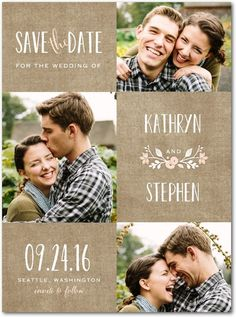 Wreathed in Love - Signature White Photo Save the Date Cards in Cashmere Pink or Lightest Turquoise | Lady Jae