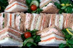 Seafood Tea Sandwiches, including Shrimp and Crab Sandwiches, GreatPartyRecipes.com