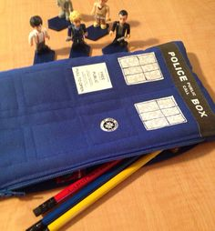 Doctor Who Tardis pencil case makeup bag gadget bag by SewFrankie