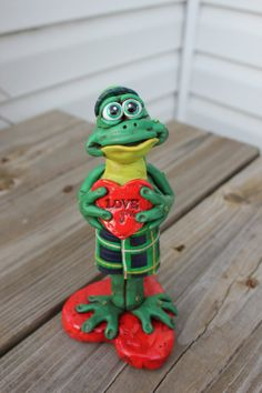Scottish Valentines Frog Sculpture reserved by mirandascritters