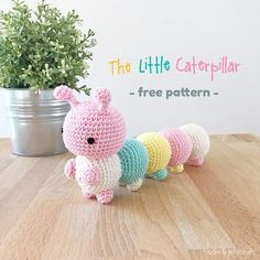 The Little Caterpillar – aidie & jellybean free pattern beginner Cuddly Caterpillar Amigurumi Free Crochet Pattern Crochet Gratis, Crochet Amigurumi Free Patterns, Crochet Animal Patterns, Knitting Patterns Free, Free Crochet, Confection Au Crochet, Crochet Cardigan Pattern, Stuffed Toys Patterns, Crochet Projects