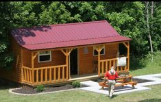 Wildcat Barns sells and offers RENT TO OWN high quality Amish log cabins, with or without finished interior Prefab Log Cabins, Wooden Cabins, Log Cabin Plans, Cabin Kits, Shed Homes, Log Homes, Tiny Homes, Two Bedroom Tiny House, Lofted Barn Cabin