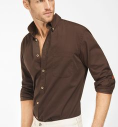 SLIM FIT PLAIN BROWN SHIRT WITH LEATHER ELBOW PATCHES, Casual ...