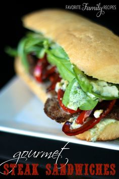 Use up all your leftover steak the day after a steak dinner with this perfect Gourmet Restaurant Steak Sandwich recipe. This classic steak sandwich recipe is made on fresh French rolls. Steak Sandwich Recipes, Soup And Sandwich, Steak Sandwiches, Gourmet Sandwiches, Wrap Recipes, Beef Recipes, Cooking Recipes, Copycat Recipes, Budget Cooking
