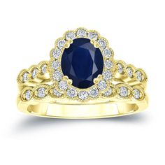Auriya 14k Gold 1 1/2ct Oval Cut Blue Sapphire and 3/5ct TDW Diamond Halo Bridal Ring Set (H-I, SI1-SI2) (Rose Gold - Size 9), Women's