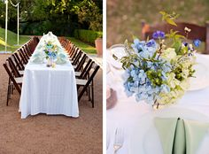 Mint green and blue reception table with hydrangeas and candles in mason jars