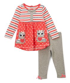 Look at this Nannette Orange & Gray Owl Tunic & Leggings - Toddler & Girls on #zulily today!