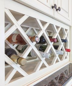 J&K Cabinetry Traditional Cabinet Wine Rack made from Maple Wood in a Creme Glazed finish. Style (A7)