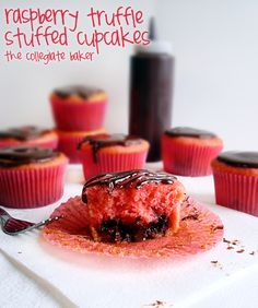 Raspberry Truffle Stuffed Cupcakes