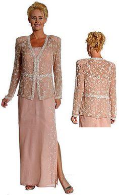 New Silk Chiffon Beaded Mother Bride Formal jacket Dress XS to 3X